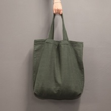 LINEN ECO BAG L_KHAKI