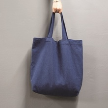 LINEN ECO BAG L_NAVY